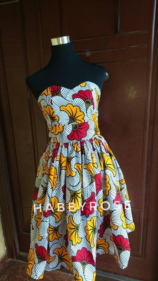 Teni African strapless dress, African party dress, bustier dress, African  fabric, Ankara Fabric, Short African dress, white dress, women's