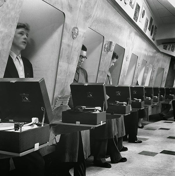Customers at a London music store, 1955 - 25 Rare Historical Photos Youve Probably Never Seen Before  Part 3  Best of Web Shrine