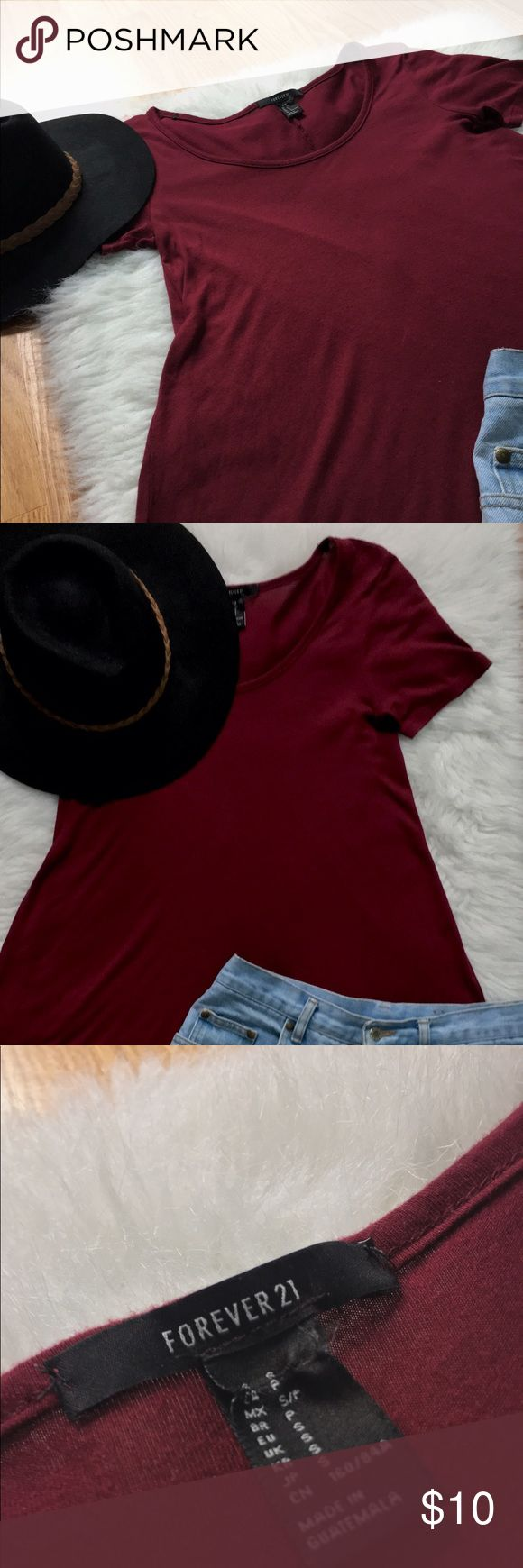Forever 21 \\\ Flowy Scoop Neck Top Burgundy/deep red color. Very flowy and would be great with leggings or jean shorts. The tag is a little messed up but doesn't affect the item. It's been worn several times but damage. Open to trades! Forever 21 Tops Blouses