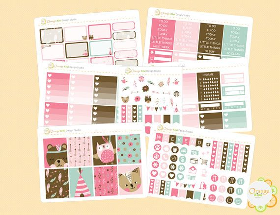 Boho Weekly Kit Boho Forest Animal Weekly Planner Stickers