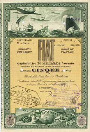 FIAT S.p.A. Aktie 5 x 500 Lire 1.9.1956 (R 8).