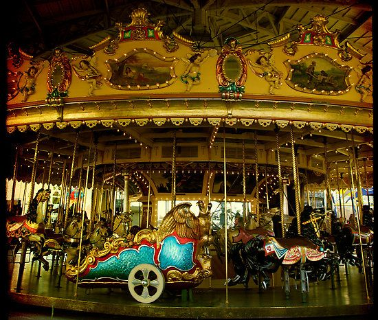 Luna Park Melbourne, Vintage merry go round, carousel. Merry Be by Cathy Walker at redbubble.com