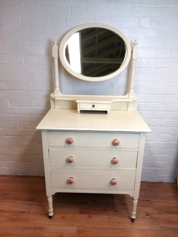 Vintage Cream Dressing Table With Mirror By ChicFantastiqueHome