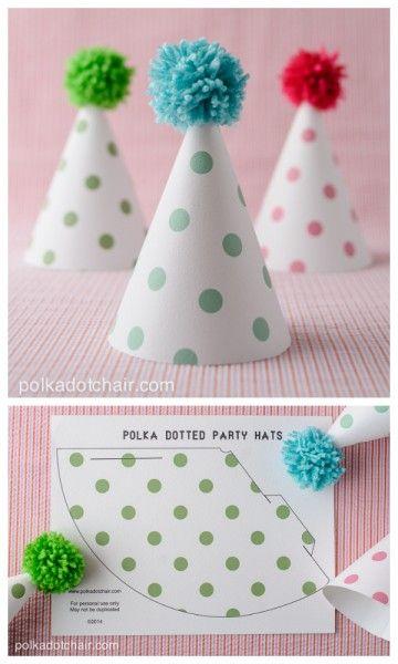 Printable Pom Pom Polka Dot Party Hats on polkadot chair