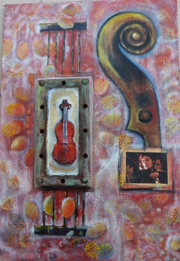 The+red+violin-μεικτή τεχνική (ακρυλικά, collage, σκουριασμένο μέταλλο με παλιά μπρούτζινα καρφιά ,γύψινο βιολί κ.λ.π σε καμβά κολλημένο πάνω σε κόντρα πλακέ)