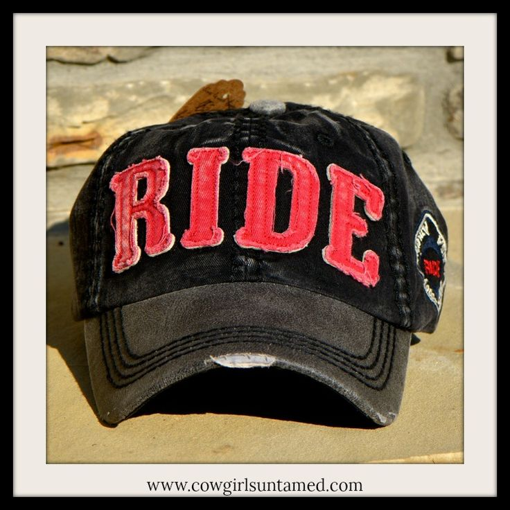 "NEW COWGIRL STYLE CAP! SUPER CUTE!  Red ""RIDE"" Distressed Fabric on Black & Red Western Cap  #cap #hat #RIDE #rodeo #horseriding #horse #barrelracing #distressed #cowgirl #western #USA #motorclub #boutique #fashion #accessories #wholesale #cowgirlsuntamed"