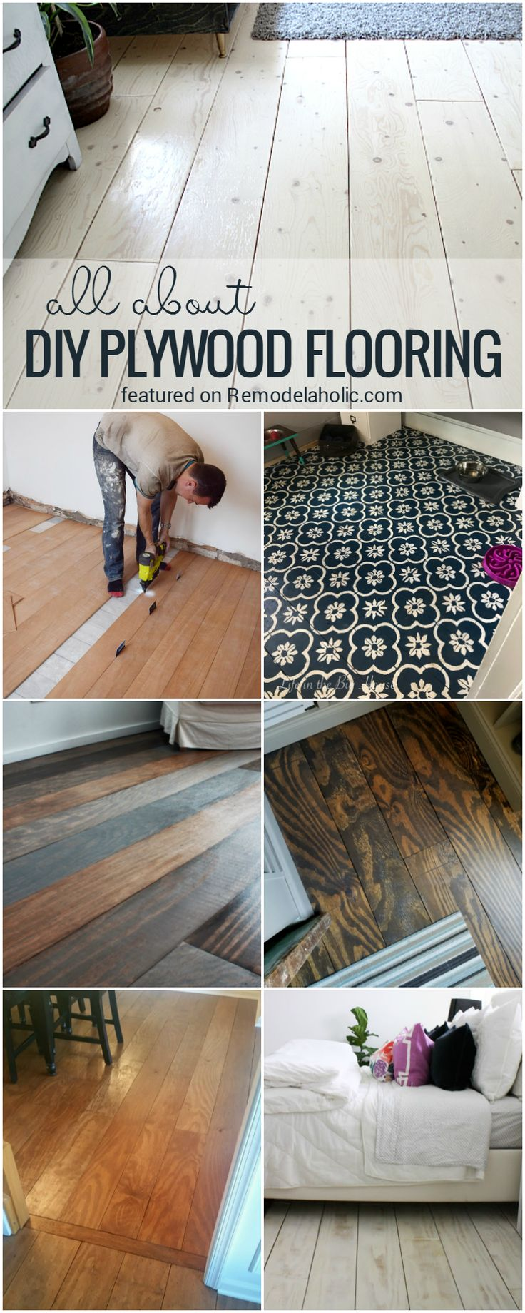 All About DIY Planked Plywood Flooring: tips and FAQs about installation, durability, and cleaning, plus pros and cons about installing DIY plywood plank floors @Remodelaholic