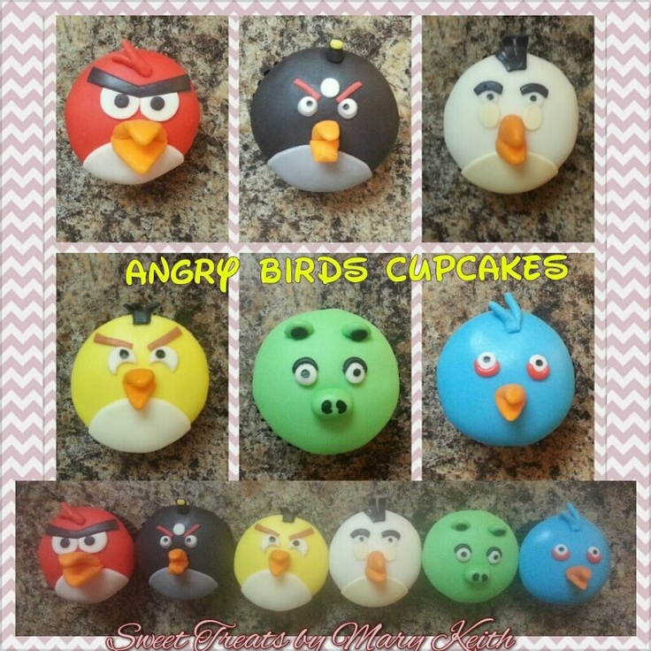Andry birds cupcakes - Angry birds cupcakes     Made out of 50/50 mmf and white modeling chocolate.     So yummy.