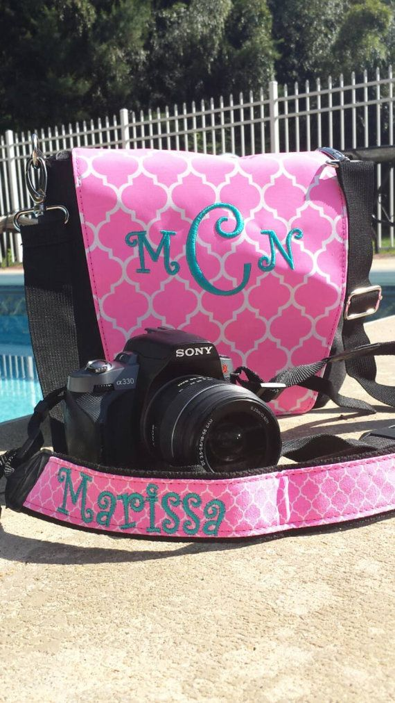 Matching Monogram Camera Bag And Strap Set By 2esinapodboutique So Cute Pinterest Bags