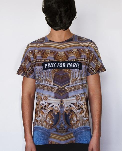 Pray for Paris golden pillars t-shirt (all over print) $74.83