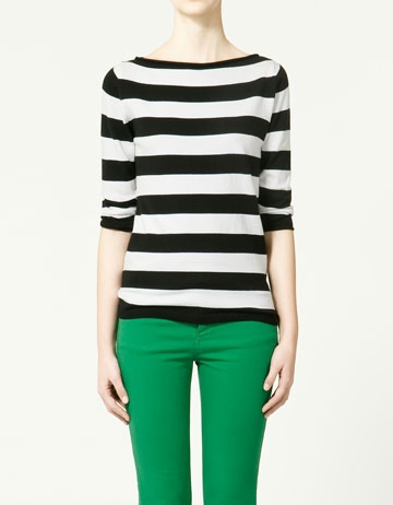 3/4 sleeve black and white striped boatneck top. basic spring look