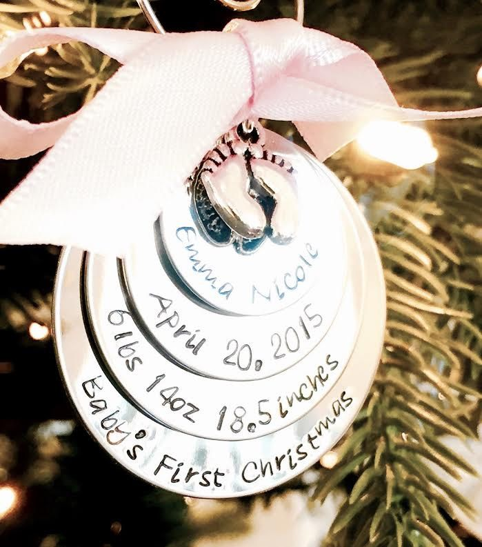 SALE  Hand stamped personalized baby's first christmas ornament pregnancy custom ornament monogrammed personalized christmas keepsake gift