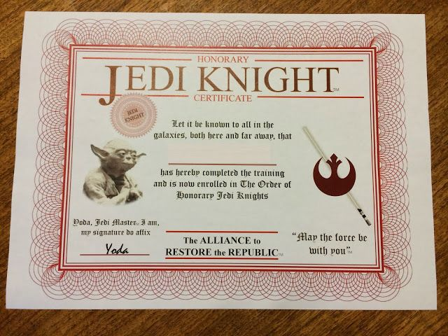 17 best images about birthday party decoration ideas for Star wars jedi certificate template free