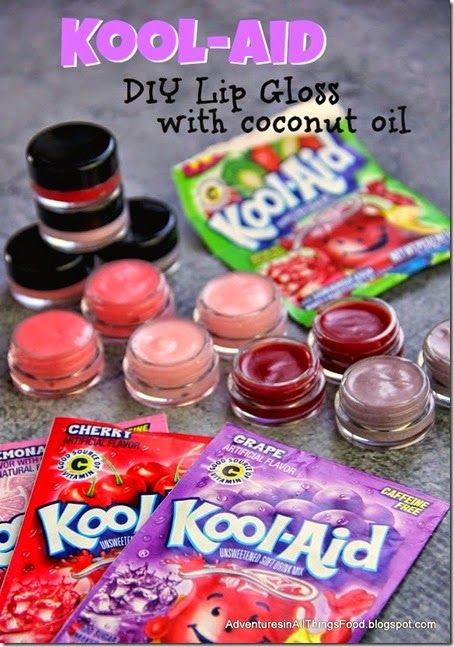 Awesome Kids DIY project --> Make lipgloss from  kool aid! This makes a great kids activities or a gift kids can make themselves for others.