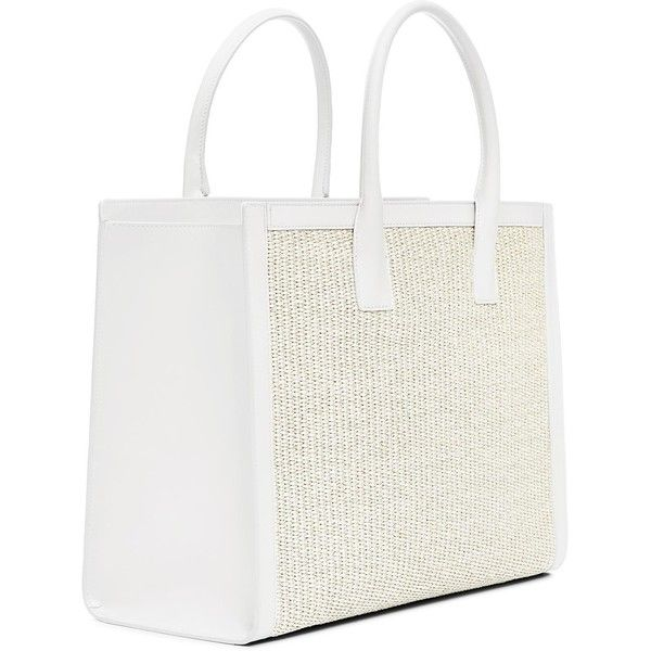 LEATHER STRAW SHOPPER ($1,400) ❤ liked on Polyvore featuring bags, handbags, tote bags, shopping bag, leather handbags, leather totes, white leather handbags and genuine leather tote