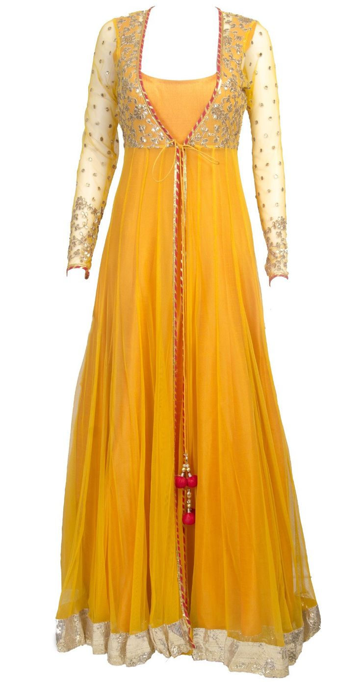 This sheer jacket long anarkali is featuring in  a mango yellow floor length raw silk. It comes along with net sheer jacket with gota work detailing. Fabric : R