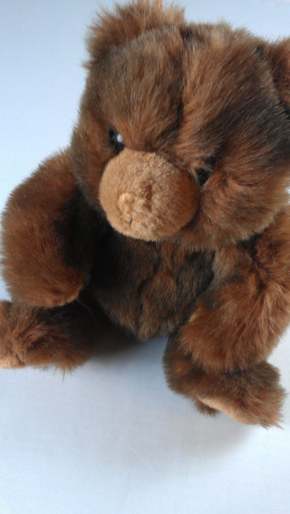 TY Teddy Bear 1990 Stuffed Sitting Brown Furry http://etsy.me/1Mygy6Q #vintage #90s #etsy #toys #humpday