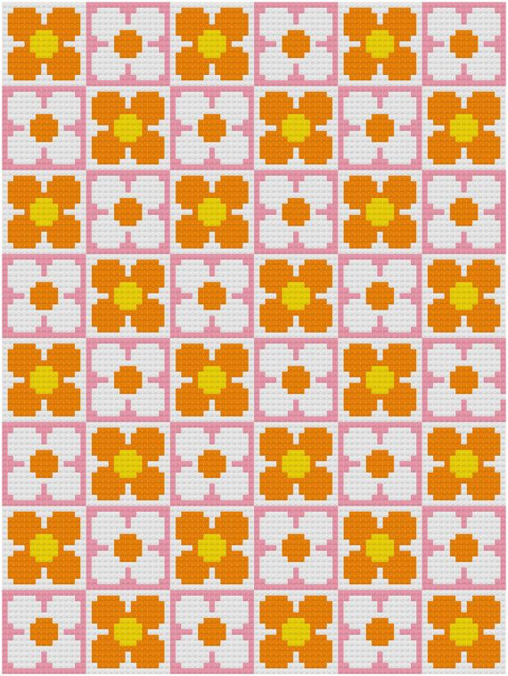 Cross Stitch Pattern, 'Retro Flower Wallpaper' PDF. Inspired by the floral designs found on vintage fabric and wallpaper of the 1960s and 70s,