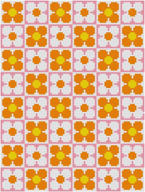 Cross Stitch Pattern 'Retro Flower Wallpaper' PDF by HollieHarris