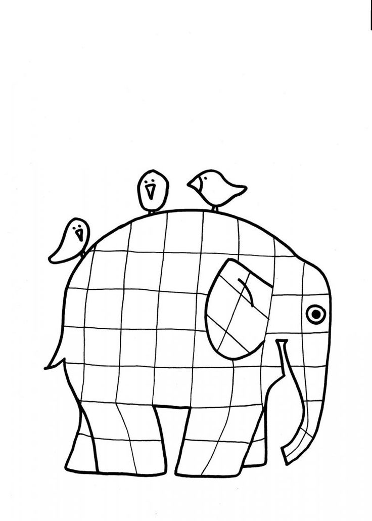 Elmer the Patchwork Elephant coloring page print