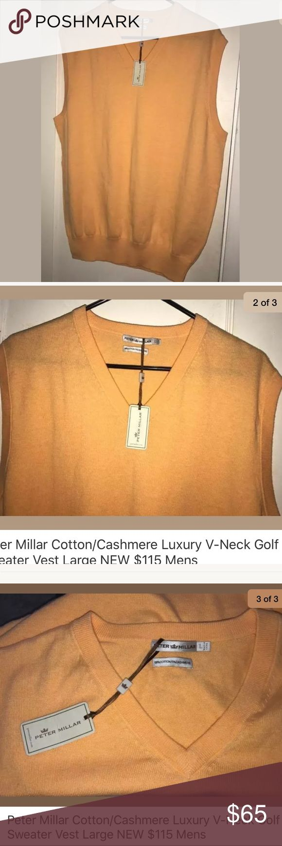 "Peter Millar Cotton/Cashmere Luxury Golf Sweater Peter Millar Cotton/Cashmere Luxury V-Neck Golf Sweater Vest Large NEW, $115  Mens Style #MS12S21 MSRP:  $115.00  Luxury Blend Lightweight  Ribbed waist, neck and sleeve   Large  Light Orange  95% Cotton; 5% Cashmere  Armpit to Armpit:  22""   Body Length:  28""  New With Tags  Smoke and pets free home Peter Millar Sweaters"