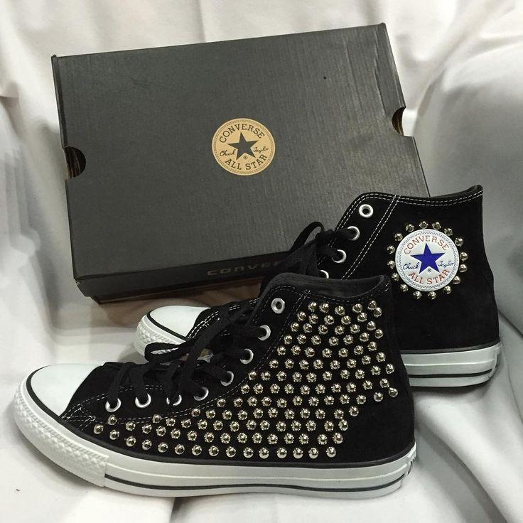 コンバース スタッズ カスタム★ お客様持込のスエード コンバースをベースにしました👟 #ESCARGOT#handmade #custom #sneaker#sneakers #converse #allstar #kicks#フォロー#長野#諏訪#古着屋#コンバース#オールスター#スニーカー#スタッズ#カスタム#リメイク#ラグジュアリー