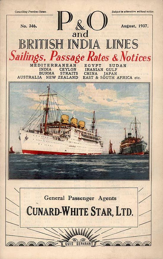 adventures-of-the-blackgang: P Line/British India Steam Navigation Co. (B.I.)Sailings August 1937-July 1938 Ports of call (P Line):London, Tangier, Gibraltar, Marseilles, Malta, Port Said, Aden, Bombay;London, Southampton, Plymouth, Tangier, Gibraltar, Marseilles, Malta, Port Said, Aden, Bombay, Colombo, Penang, Singapore, Hong Kong, Shanghai, Yokohama, Kobe