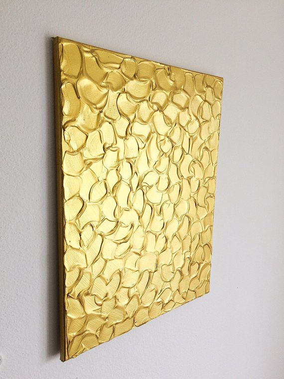 Gold Metallic Painting Gold Acrylic Painting Textured