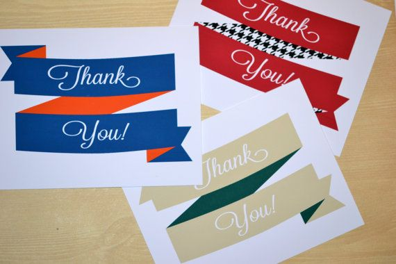Collegiate Ribbon Thank You Cards. Available for sale on Etsy! Perfect way to say thanks to everyone who has supported you through your college years.   #graduation #thankyou #cards