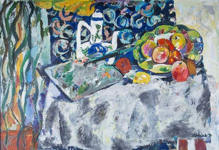 Juliusz Jonikak: Martwa natura z paletą, 2014 r. olej, płótno, 65 × 92 cm sygn. i dat. p.d.: Joniak `14