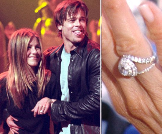 Jennifer Aniston: Brad Pitt codesigned the engagement ring he gave Jennifer Aniston in 1999. Brad reportedly shelled out $500,000 for the diamond design that symbolized eternity.