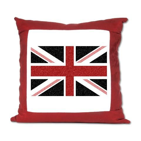 """Brit N' Spired - Union Jack Variant Suede Pillow    http://www.cafepress.com/britshop.623893179    For the couch or the bedroom, this stain resistant pillow is comfort personified. Our comfy 16"""" x 16"""" personalized pillow is made of soft microsuede material. Our shades of red Union Jack variant pillow has a washable pillow sham with a zipper closure (and a hypoallergenic 100% polyester pillow insert). $41.99"""