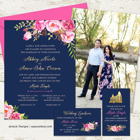 Pink Floral Gold and Navy Wedding Invitation Set by Jeneze on Etsy