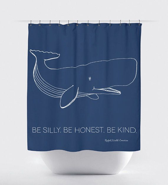 Whale Shower Curtain: Navy Nautical  Be Silly by BrandiFitzgerald