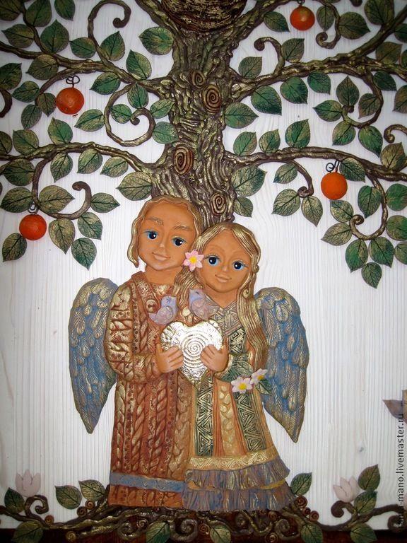 Купить Панно для влюблённых-2 - древо жизни, любовь позитив счастье, гнездышко, семейный очаг