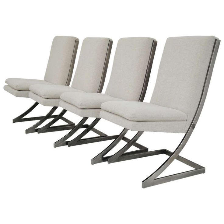 Milo Baughman Chrome Z Dining Chairs For Dia