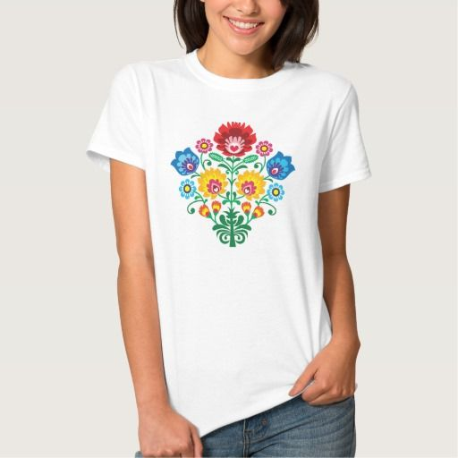 Traditional Polish floral folk embroidery pattern