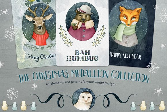 Big Christmas Medallion Collection by Watercolor Nomads on Creative Market #Clipart #Christmas