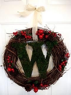 Moss monogram Christmas wreath