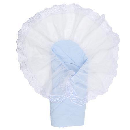 """Плакса Конверт-одеяло Ангел  — 2260р. -------------------------- Конверт-одеяло """"Ангел"""" голубогоцвета марки Плакса для мальчиков. Конверт на липучке, выполненный из чистого хлопка, дополнен подкладкой из холлофайбера, которая обеспечивает хорошую вентиляцию и терморегуляцию. Изделие декорировано нежнымкружевом.Конверт на выписку в дальнейшем можно использовать как одеяло для малыша. Размер: 105х105 см."""