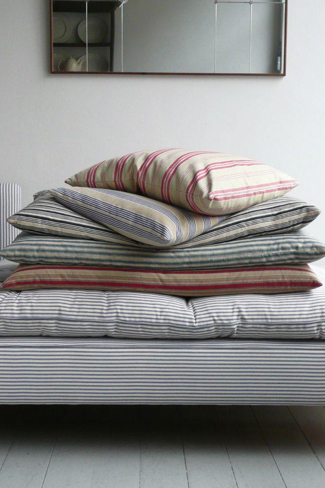 ticking: Cotton Ticking, Ticking Stripes, Bedrooms Design, Textiles, Cushions, Linens, Beds Sheet, Fabrics, Pillows