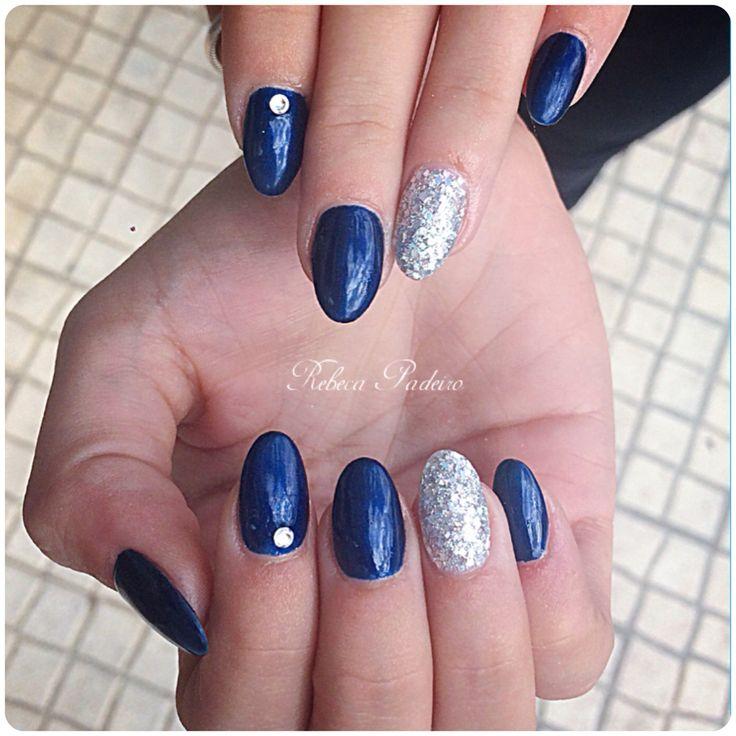 Blue Acrylic Nails (Cristal Swarovski)