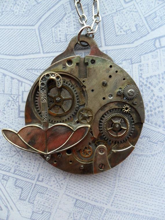 Steampunk Victorian Silver Umbrella Necklace by SteampunkBijoux on Etsy