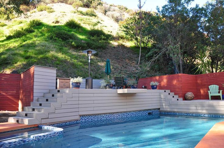 1000 images about pool and spa on pinterest mid century for Pool design hillside