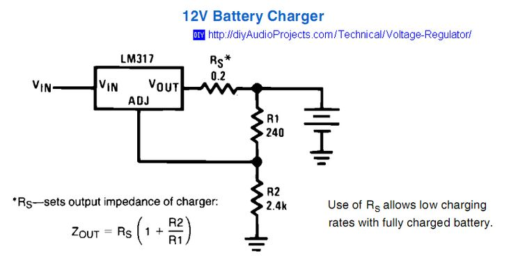 12 Volt Battery Charger Circuit With Lm317 Regulator