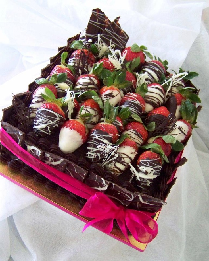 Cake Decorating With Chocolate Covered Strawberries : 8   Square chocolate mudcake with ganache, choc shards and ...