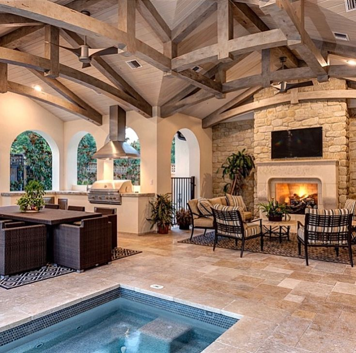 Covered patio with fireplace, outdoor kitchen and inground ... on Covered Outdoor Kitchen With Fireplace id=38348