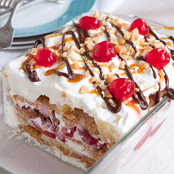 Banana Split Icebox Cake - an old fashioned dessert with layers of whipped cream, banana, strawberries, and pineapple.