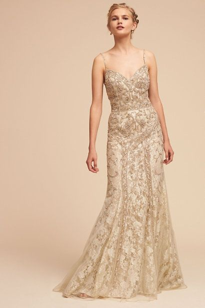 The 66 best Wedding dresses images on Pinterest   Dream dress  Ivory     Gold Gloria Gown   BHLDN