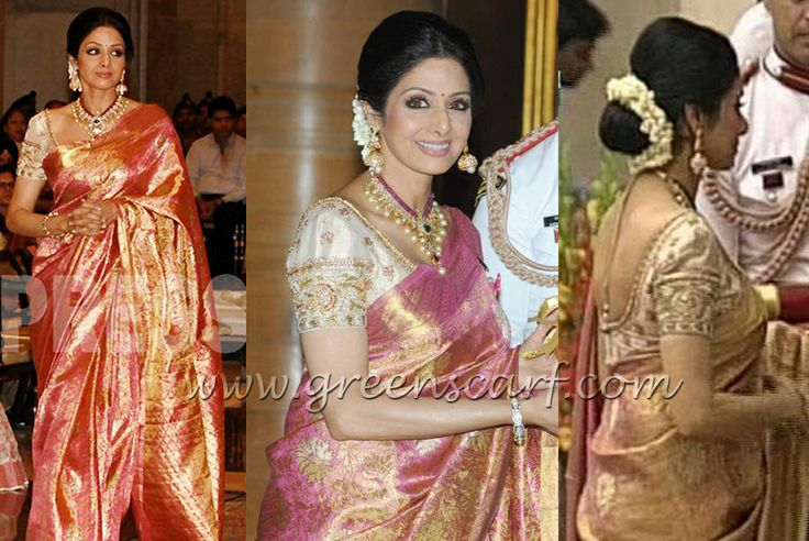 Sridevi in pink kanjeeevaram saree at the padma shri award function
